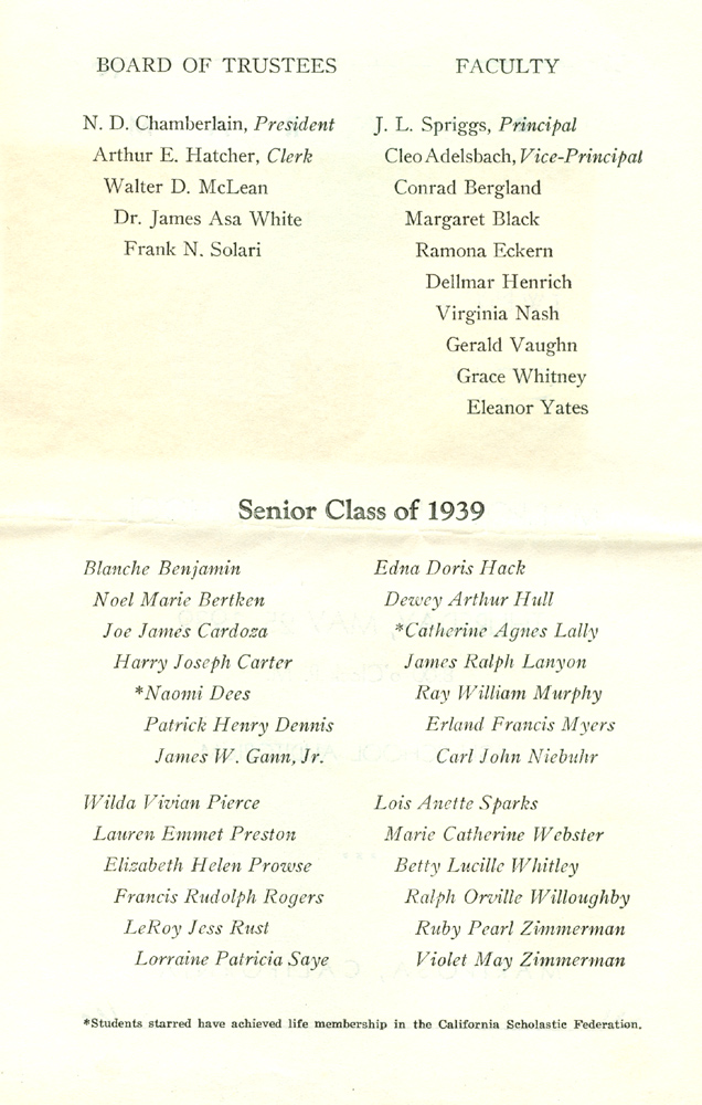 Mariposa County High School Graduates