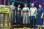 Class of 1927 (about 1951): Bertha Outzen Schroeder, Faye Givens Dyer, Zeora Thomas Butterfield, Donald Givens, Ruth Outzen Womack